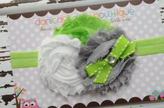Lime, white and gray shabby headband with a lime bow embellishment. Infant, toddler, child, adult sizes. $11.00, via Etsy.