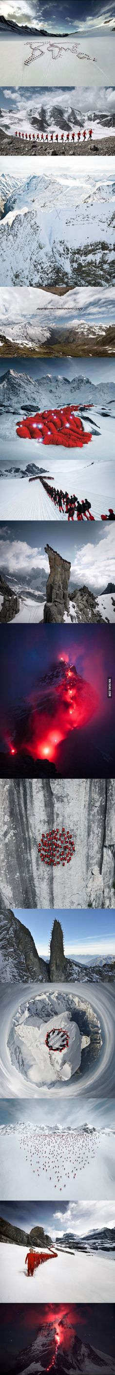 Hundreds Of Mountaineers Climb The Alps For Epic Photoshoot.
