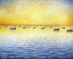 Sardine Fishing, Concarneau ~ Paul Signac Paul Victor Jules Signac was a French neo-impressionist painter who, working with Georges Seurat, helped develop the pointillist style. Georges Seurat, Paul Signac, Maurice Utrillo, Art Moderne, Henri Matisse, Moma, Kandinsky, Oeuvre D'art, Belle Photo