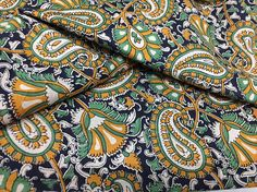 Indian Paisley Print Fabric Indian Cotton Fabric by the