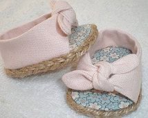 Pale Pink Open Toe, Tie On Espadrilles 18 inch doll clothes