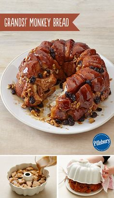 Grands! Monkey Bread is a sweet, gooey, irresistable treat. Oozing with warm caramel and cinnamon, this easy recipe is made with Pillsbury biscuits, walnuts and raisins. It is loved by young and old alike for the best weekend breakfast for when you have company or want to impress your family!