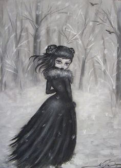 DEPARTURE black and white  victorian gothic vampire big eye giclee stretched CANVAS by Nina Friday. $235.00, via Etsy.