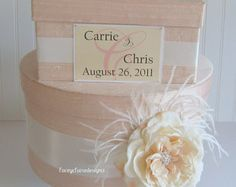 Wedding Card Box Set and Ring Pillow/Flower por LaceyClaireDesigns