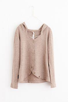 SA-RAH Melton Bambie knit wool food cardigan - poooL (online shop)