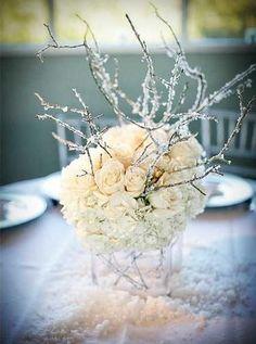 Frosty Twigs Snow Wedding Table Centrepiece