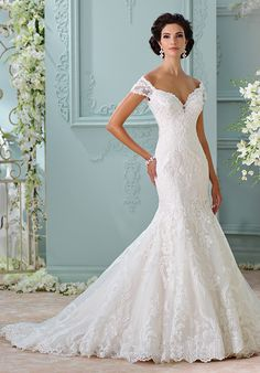 Off-the-shoulder gown with sweetheart neckline and lace appliqué details I Style: 116201 - Aura I David Tutera for Mon Cheri I http://knot.ly/6495BLdJH