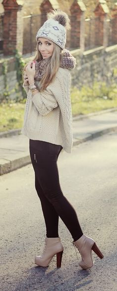 Knit Scarf # Sweater & High Heels Booties