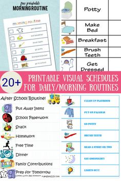 More than 20 free printable visual schedules or cards to help with daily routines, morning routines and daily activities.Often helps kids with autism and other learning disabilities. Daily Routine Chart For Kids, Schedule Board, Daily Routine Schedule, Kids Schedule, Charts For Kids, Daily Routines, Preschool Schedule, Visual Schedule Printable, Visual Schedule Autism