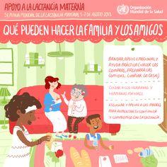 World Health Organization (WHO) (OMS) publica 4 infografías en español sobre cómo dar apoyo a las madres que amamantan: ¡cercano, continuo y oportuno! ¿Qué pueden hacer las familia y los amigos?  #SemanaMundialLactanciaMaterna