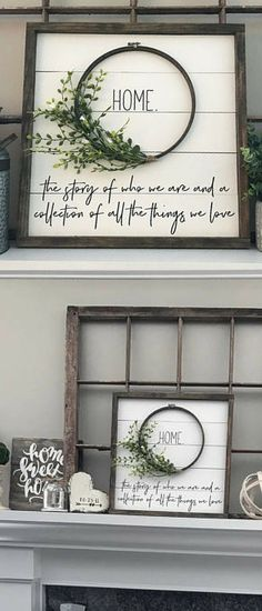 "Gorgeous farmhouse style home decor sign, simple wreath on the inside says ""Home"", small print says ""the story of who we are and a collection of all the things we love"", painted on white shiplap, minimalist simple decor idea for the home or rustic cabin, cute gift idea for a Joanna Gaines or Fixer Upper fan. #affiliate #smallrusticcabin"