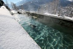 Italians have been soaking at the hot springs at Bagni di Bormio since the days of the Roman empire, and with views like that, can you blame them? This pool, now part of the secluded Bagni di Bormio spa, is heated naturally from beneath and is kept steamy all year round by stone walls. We suggest you take a dip in the wintertime—for obvious reasons.