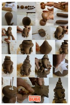 to make your own eco-friendly Clay Ganesha? Here are 7 easy steps to help y. -Keen to make your own eco-friendly Clay Ganesha? Here are 7 easy steps to help y. - Disney Products by Cody Pence, via Behance Wooden Forest Trees — Midgley Green Arti Thali Decoration, Ganpati Decoration Design, Ganapati Decoration, Eco Friendly Ganpati Decoration, Kalash Decoration, Clay Ganesha, Ganesha Art, Lord Ganesha, Ganesh Idol