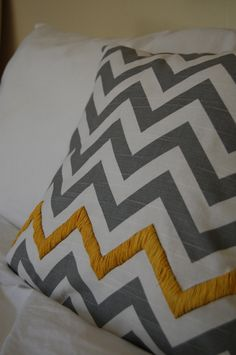 Chevron Pillow Cover - Grey & Yellow  (living room)