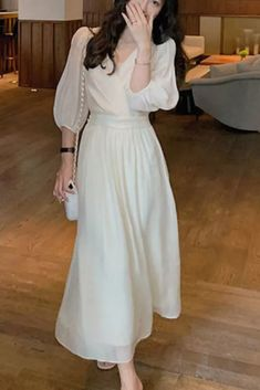 2021 Summer French Retro Dress Women Elegant Puff Sleeve Korean Dress Female Office Lady Casual V-neck Chiffon Fairy Dress Korean Dress, Fairy Dress, Dress Styles, Retro Dress, Chiffon, French, Female, Elegant, Lady