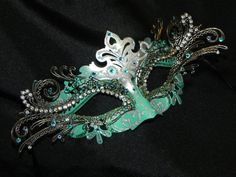 Masquerade Mask  Green Aqua and Silver by TheCraftyChemist07