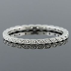 Ultra Thin Pave Diamond Woven Milgrain Stackable Platinum Eternity Wedding Band - Would go great with my current set! Eternity Ring Diamond, Diamond Bands, Eternity Bands, Diamond Wedding Bands, Diamond Jewelry, Platinum Wedding Bands, Solitaire Diamond, Unique Wedding Bands, Wedding Rings