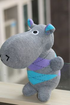 Handmade Large Hippo stuffed animal toys little by Toyapartment, $20.80