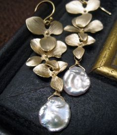 Orchid Earrings with keishi pearls, Gold orchid, Freshwater pearl earrings, bridesmaid jewelry, wedding jewelry