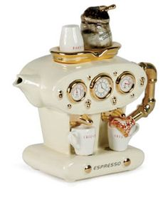 Double Espresso, Espresso Cups, Espresso Maker, Espresso Coffee, Teapot Cookies, Teapots Unique, Teapots And Cups, Tea Art, Ceramic Teapots