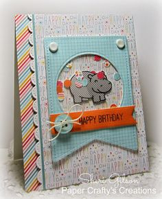 Lawn Fawn - Year Four, Stitched Party Banners, Stitched Scalloped Borders, Hello Sunshine 6x6 paper _ shaker birthday card by Sheri at Paper Crafty's Creations : Happy Birthday!