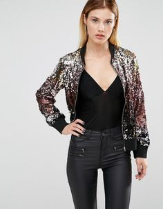 Buy Club L Mixed Sequin Bomber Jacket at ASOS. Get the latest trends with ASOS now. Brown Leather Bomber Jacket, Bomber Jacket Outfit, Glitter Jacket, Sequin Jacket, Sequin Outfit, Sequin Dress, Tutu, Look Festival, New Years Outfit