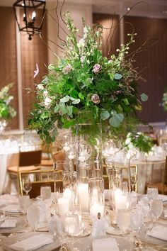 photo: Sarah Kate Photography; Chic green wedding centerpiece;