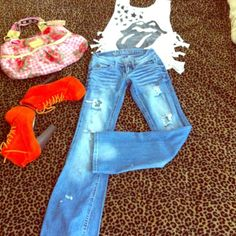 Wallflower jeans Stone washed stretch flare bottom distressed denim, as u can see, to tight on me! Jeans