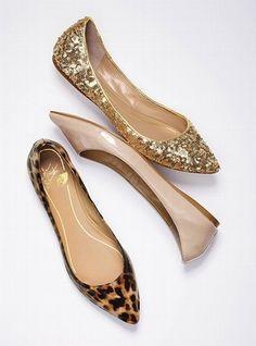 Leopard flats, shiny flats, sequin flats.