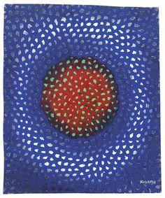 Yayoi Kusama (Japanese, b. 1929), Sun Green, 1957. Acrylic and pastel on paper, 40.6 x 33.7 cm.