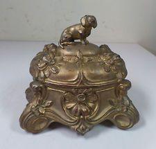 Rare Antique Art Nouveau Figural Dog Beagle & Daisies Jewelry Casket Dresser Box