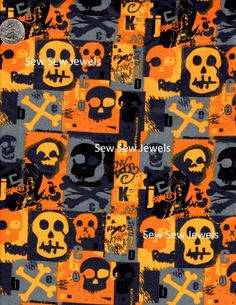 Skull and Bones Orange and Black *Fabric Sold By The Half Yard by HopesJewels on Etsy