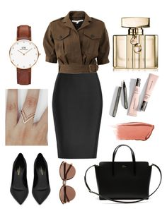 """""""Untitled #140"""" by itsmexo ❤ liked on Polyvore featuring Roland Mouret, Veronica Beard, Yves Saint Laurent, Lacoste, Daniel Wellington, Gucci, Hourglass Cosmetics and Witchery"""