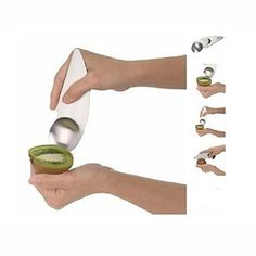 cool QGS? Stainless Steel Kiwi Slicer Cutter / Rind Removal Tool - Silver