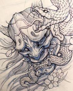 Japanese Snake Tattoo Drawings Pin By Design Guy Joe On Cool Ink Oni Tattoo, Tattoo Snake, Samurai Tattoo, Hanya Mask Tattoo, Shogun Tattoo, Samurai Drawing, Demon Tattoo, Samurai Art, Japanese Tattoo Art