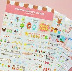 Drawing Market Sticker Set  Deco Sticker  Diary Sticker by mieryaw, $3.00