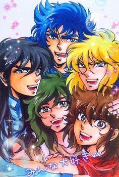 Hermanos de bronce: Seiya de Pegaso, dragón Shiryu,Ikki de fénix,cisne Hyoga y Shun de andromeda