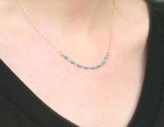 Dainty Turquoise Beaded Necklace - 14K Gold filled everyday dainty delicate jewelry. $25.00, via Etsy.