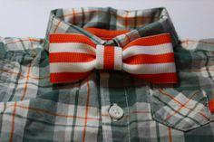 Orange & White Striped ClipOn Bow Tie Baby Bow Tie by ElenasBows, $3.50