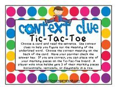 Classroom Freebies: Context Clues Tic-Tac-Toe Game - practice using context clues to figure out word meaning. Reading Lessons, Reading Skills, Teaching Reading, Guided Reading, Teaching Ideas, Reading Strategies, Reading Games, Reading Activities, Thinking Strategies