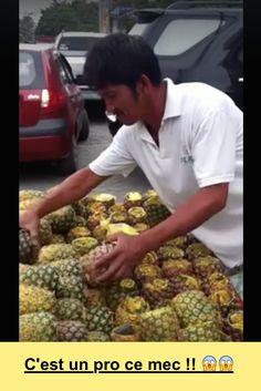 vidéo Comment découper une ananas....C'est un pro ce mec !! 😱😱  http://dai.ly/x29jseh