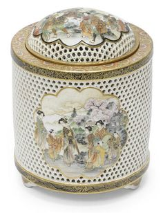 A cylindrical Reticulated Satsuma vessel and cover By Okamoto Ryozan, Meiji era (1868-1912) (2)