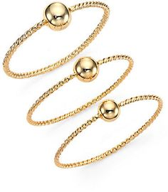 Giles & Brother Twist & Ball Triple Bangle Bracelet Set on shopstyle.com Bracelet Set, Bangle Bracelets, Bangles, Brother, Gold Necklace, Slip On, Womens Fashion, Benefit, Jewelry