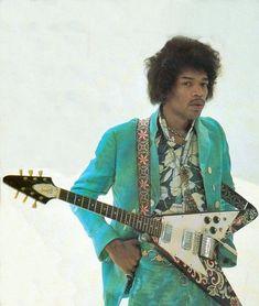 1967 Gibson Flying V - with custom painted psychedelic body paintwork done by Jimi himself-Gear of the Gods: Jimi Hendrix Jimi Hendrix Experience, Beatles, Heavy Metal, Jimi Hendricks, Historia Do Rock, Guitar For Beginners, Rockn Roll, Janis Joplin, Music Icon