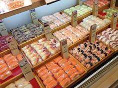 Beautiful, individually-wrapped sushi display @ the Pyeongtaek E-mart {thebirdsandthepeas.blogspot.com}