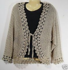 CHICOS-Oatmeal-Beige-Rayon-L-Sweater-Size-3-Cardigan-Long-Sleeve-Chicos-Womens