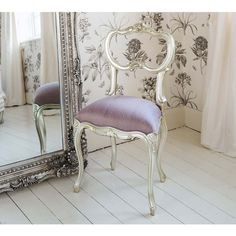 Sylvia Silver & Lilac Silk Seat   Silver Bedroom Chair. Metallic silver French bedroom chair,