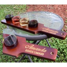 For the wine lovers out there. This Personalized Wooden Wine Flight Set comes in a lovely Red/Brown Finish and makes for a very nice gift for the wedding party. – Gourmet Wedding Gifts