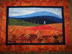 Autumn landscape quilted wallhanging