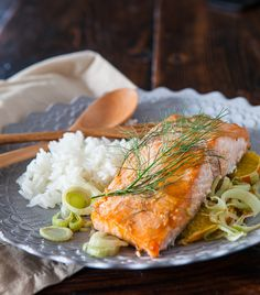 Miso Salmon with Orange and Fennel Recipe ~ http://steamykitchen.com